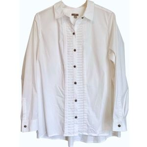 J. Jill White Pleated Button Button-down Shirt